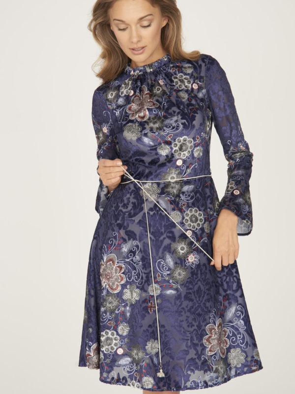 granatowa sukienka z welurem