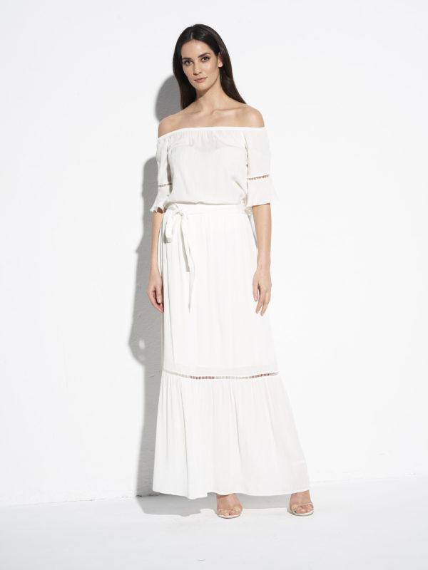 Biała wiskozowa spódnica EZURI