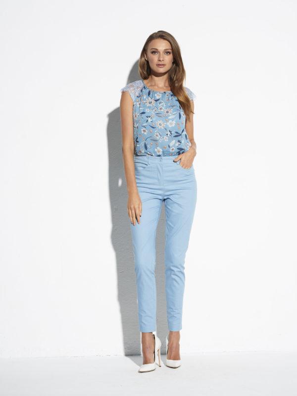 Niebieskie spodnie z wysokim stanem Sanur