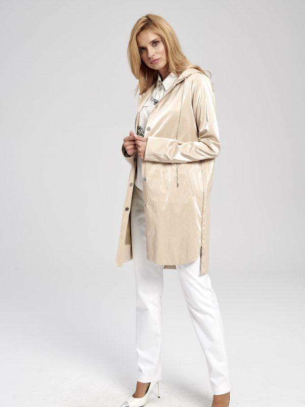Beżowa długa kurtka - sportowa - świecąca
