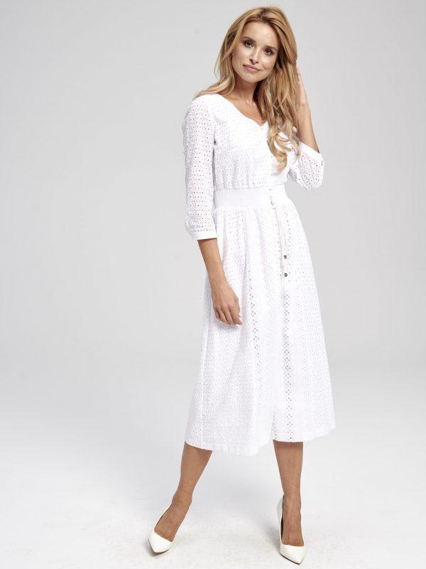 Sukienka z koronki biała z długim rękawem