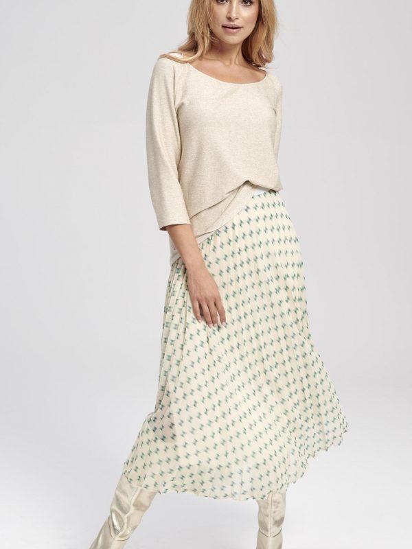 Elegnacka bluzka beżowa - długi rękaw - bluzka basic- Ada