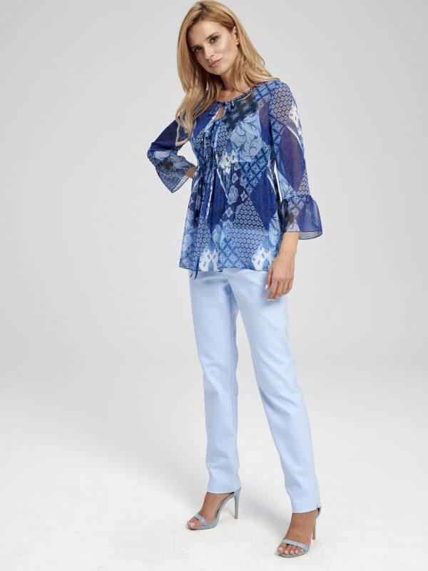 Niebieska patchworkowa bluzka boho Nebraska EZURI
