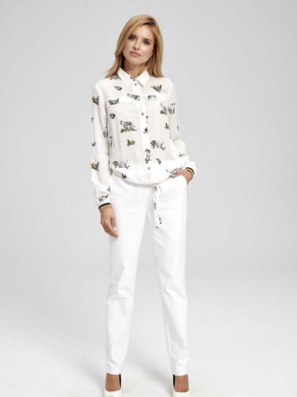 Biała koszula sportowa z nadrukiem zebry