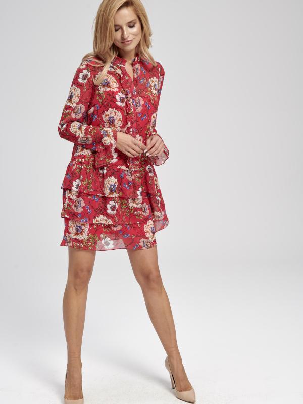 Czerwona zwiewna sukienka w kwiaty do kolan