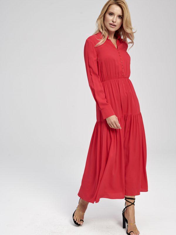 Długa sukienka czerwona gładka z długim rękawem