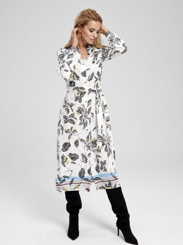 Długa sukienka w liście plamy zoja