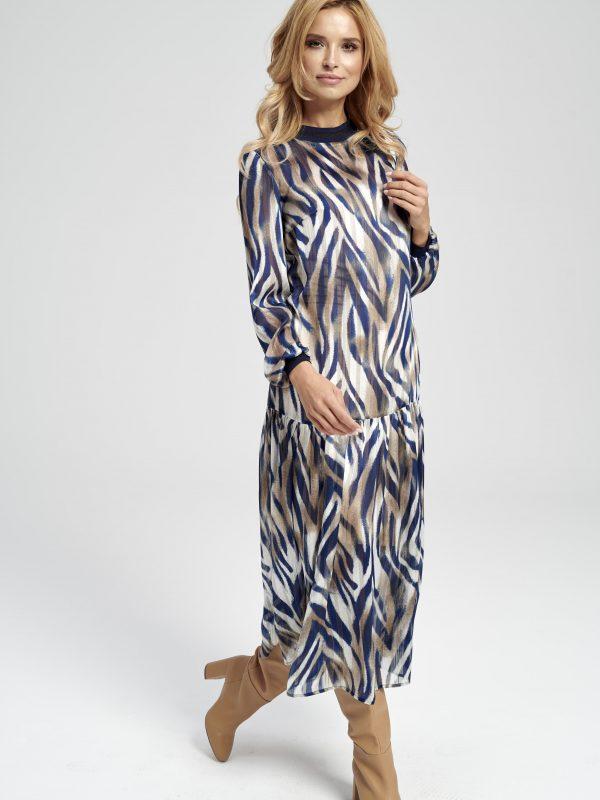 długa sukienka w czarno-brązową zebrę