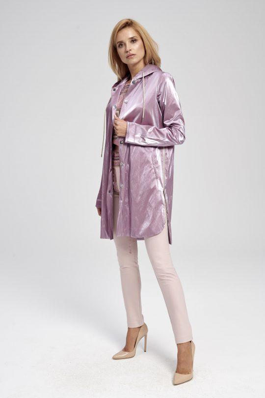 Elegancka fioletowa kurtka długa - świecąca