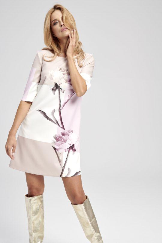 Geometryczna sukienka w kształcie litery A Peonia na wesele rękaw do łokcia