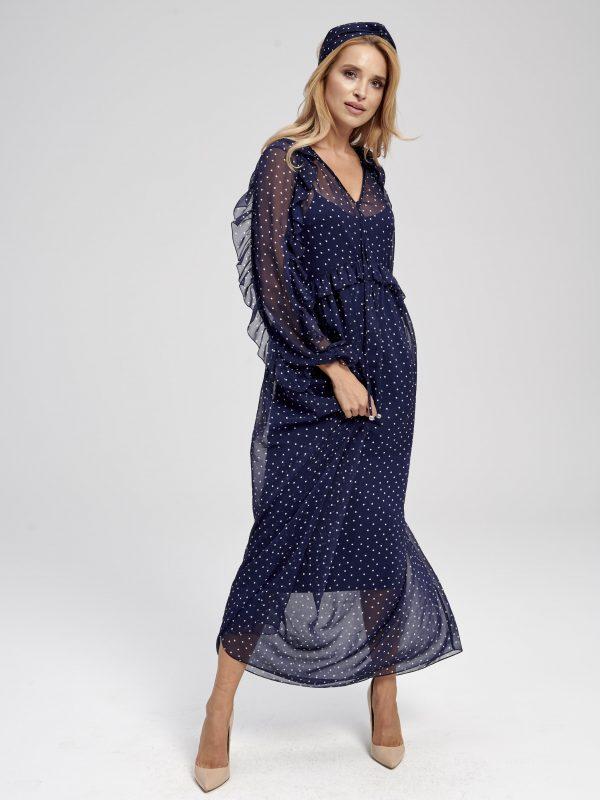 granatowa sukienka w kropki, długa, zwiewna