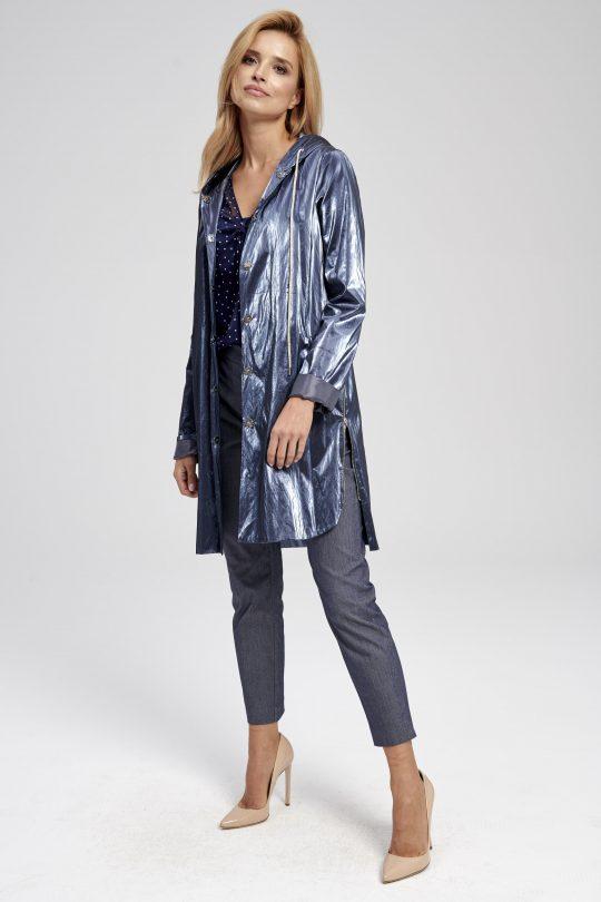 Elegancka granatowa kurtka długa - świecąca