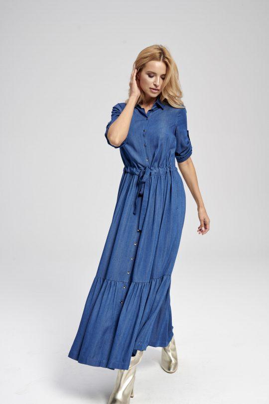 Sukienka jeansowa maxi z długim rękawem