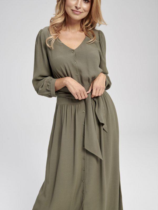 długa sukienka khaki - gładka