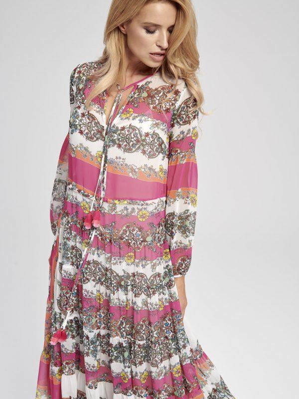 Sukienka maxi kolorowa, zwiewna, długa
