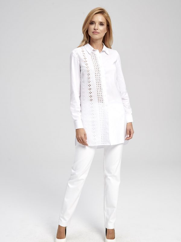 Biała koronkowo-ażurowa bluzko-tunika Bukareszt EZURI