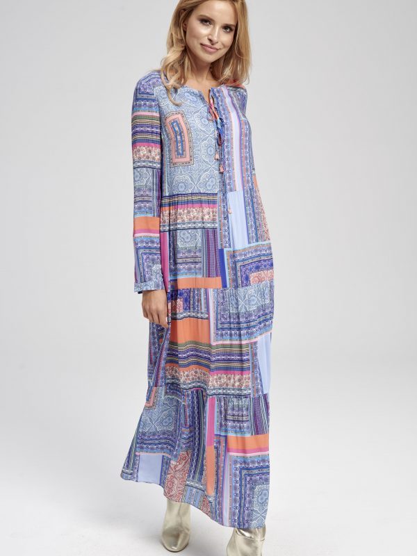Długa niebieska sukienka maxi Cancun