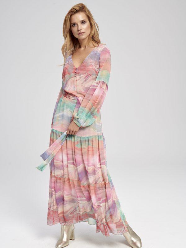 Sukienka pastelowa długa na wesele