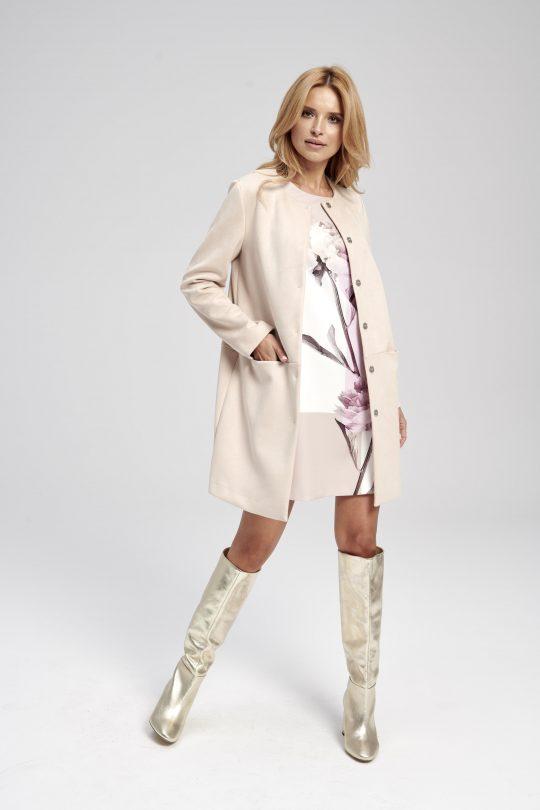 Klasyczny beżowy płaszcz do kolan Chloe