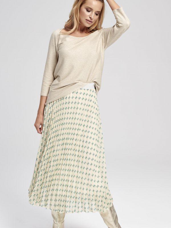 Biała plisowana spódnica wzory geometryczna