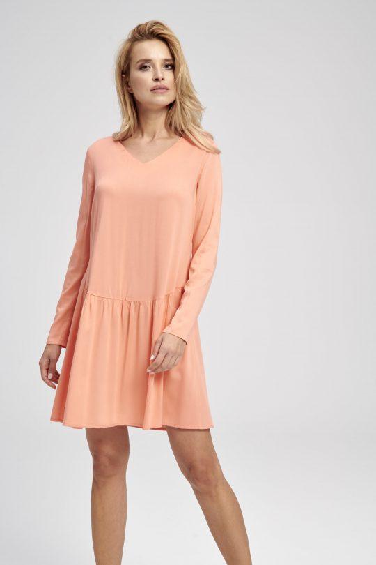 Pomarańczowa gładka sukienka z falbaną do kolan Dżimma EZURI
