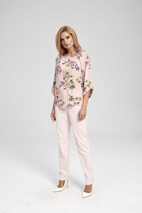 Bluzka hiszpanka różowa w kwiaty z wiskozy