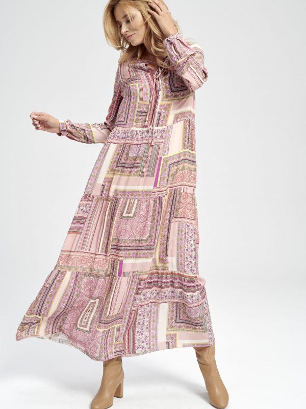 Różowa długa sukienka z wiskozy Cancun
