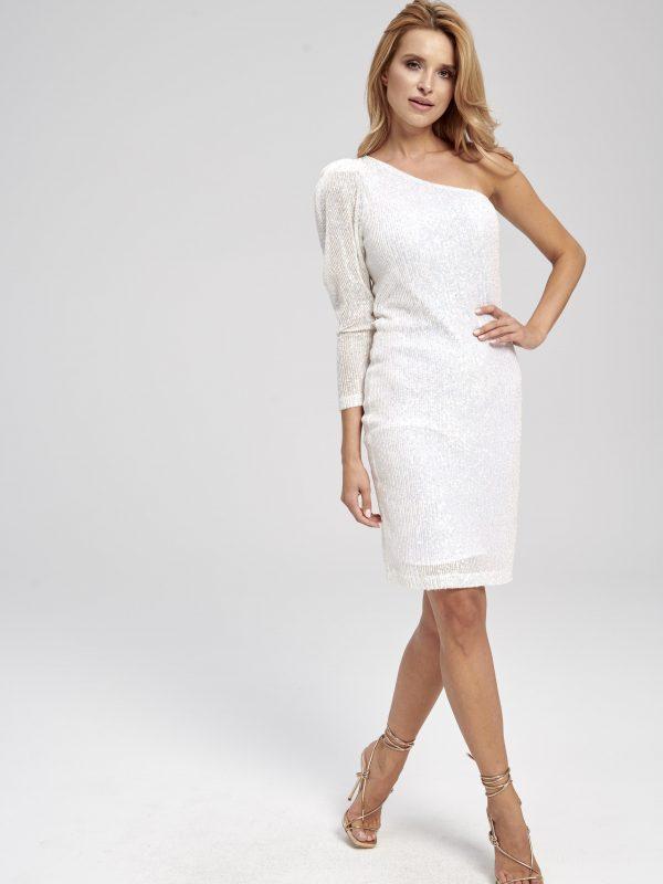 Biała cekinowa sukienka na jedno ramię Aurelia