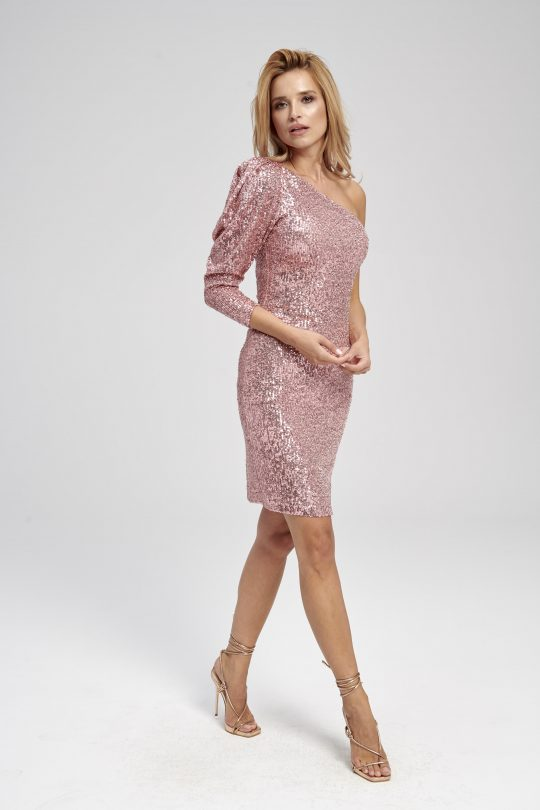 Fioletowa cekinowa sukienka na jedno ramię z bufką