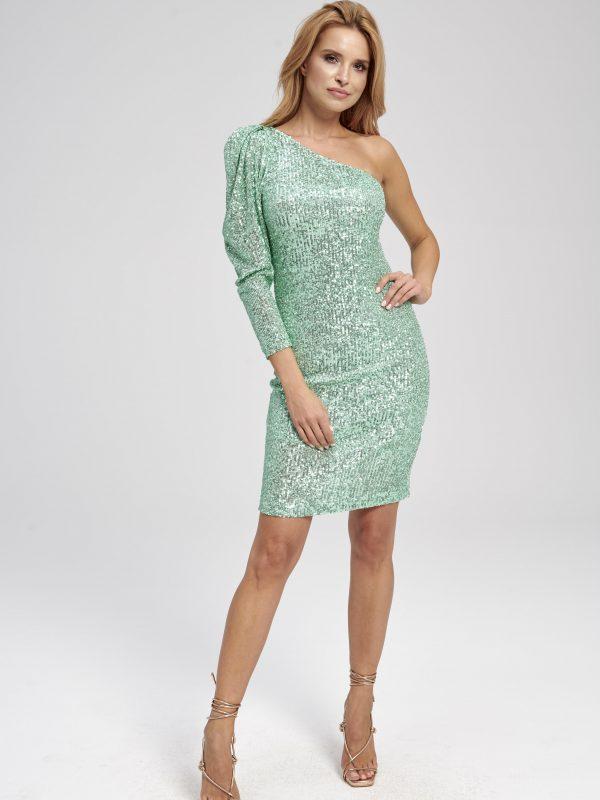 Sukienka cekinowa zielona na jedno ramię z bufką