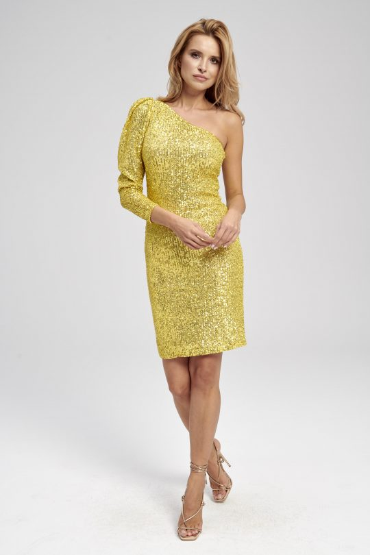 Żółta cekinowa sukienka na jedno ramię Aurelia
