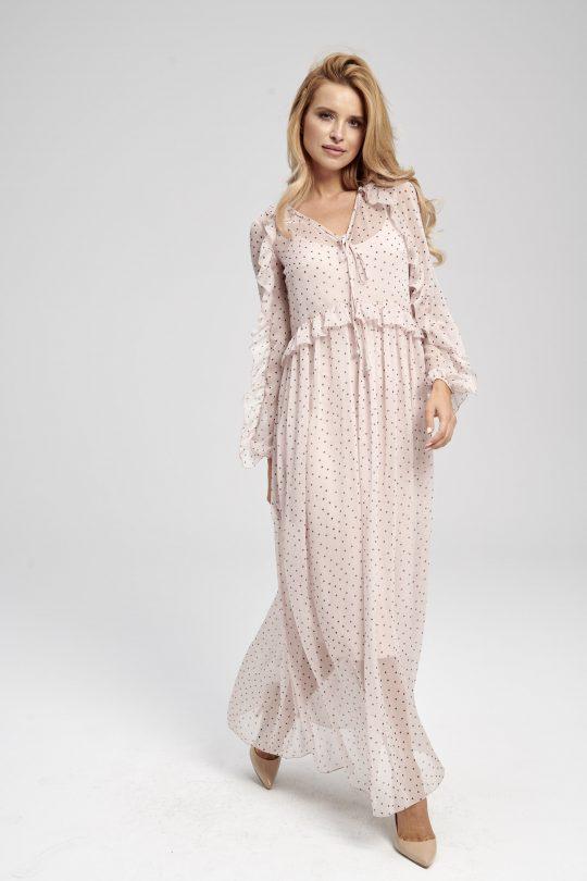 Blado-różowa sukienka w czarne kropki, zwiewna