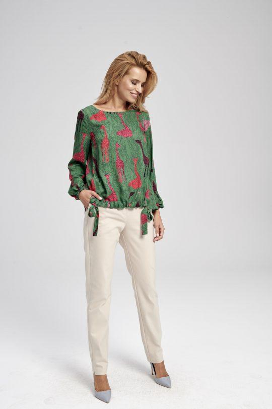 Zielona bluzka z długim rękawem i nadrukiem Judy