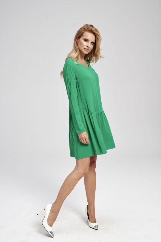 Zielona sukienka z falbaną do kolan gładka