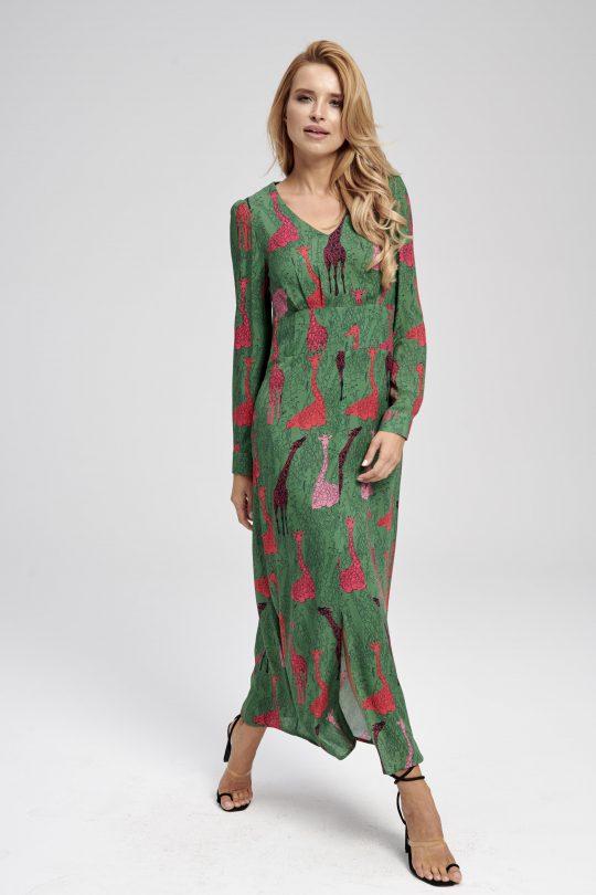 Długa zielona sukienka z nadrukiem - długi rękaw