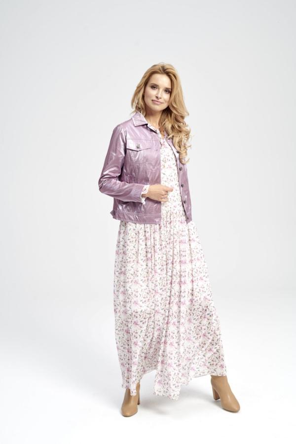 Fioletowa kurtka wiosenna - świecąca, krótka