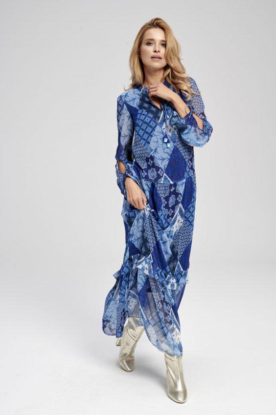 długa sukienka boho niebieska