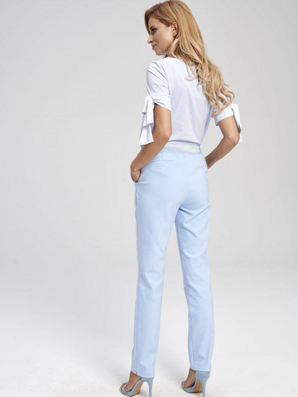 Damskie niebieskie spodnie materiałowe - cygaretki- z wysokim stanem