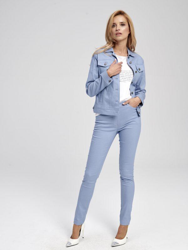 Damskie niebieskie spodnie z wyskoim stanem