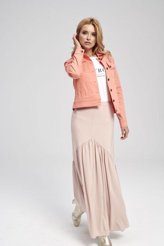 pomarańczowa kurtka damska krótka na guziki