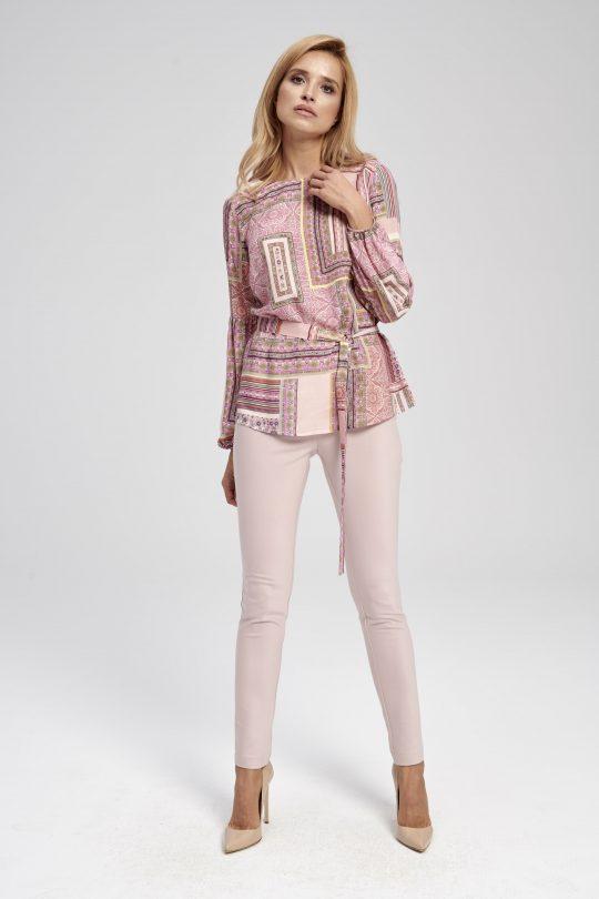 Pudrowo-różowe spodnie ze zwężającą się nogawką INU