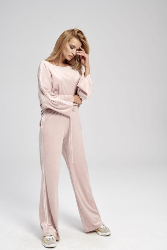 Różowa bluza sportowa z cekinowym lampasem Lola