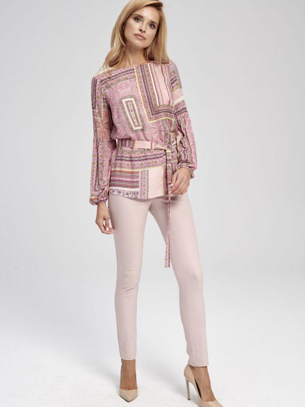 Elegancka różowa bluzka z nadrukiem