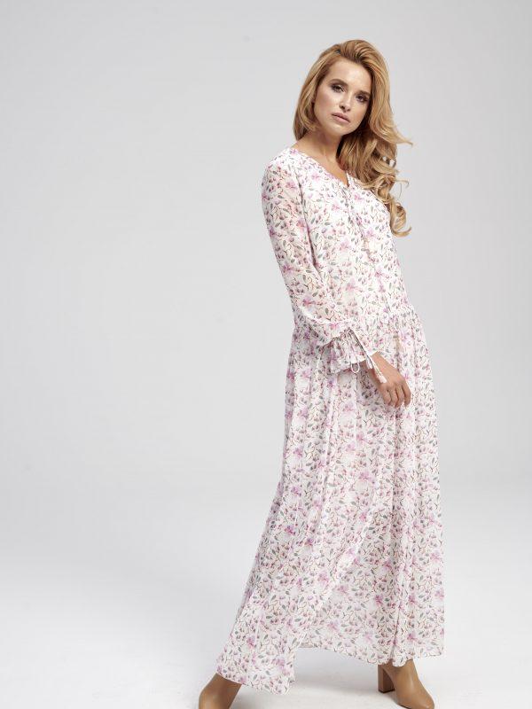 długa zwiewna sukienka w kwiaty z rękawem