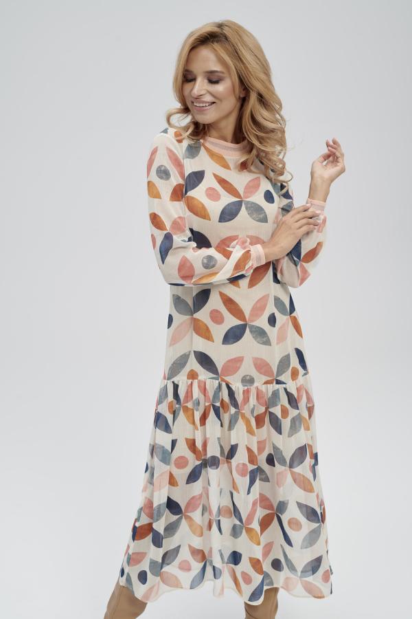 długa sukienka z kolorowym nadrukiem z długim rękawem