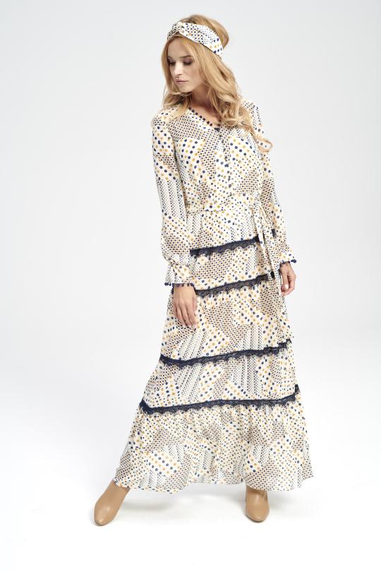 długa sukienka w kropki geometryczne