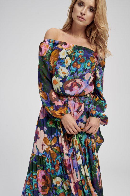 długa sukienka w kwiaty z długim rękawem - typ hiszpanka