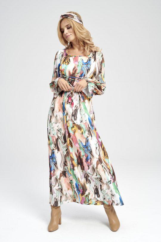 długa sukienka wiązana pod biustem w pastelowe wzory