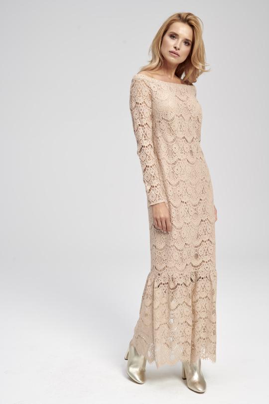 długa beżowa sukienka koronkowa