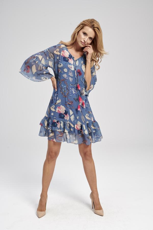 sukienka z falbankami na dole w kolorowe wzory
